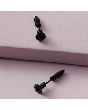 1pair Screw Design Earrings