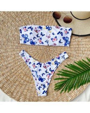 Butterfly Print Bandeau High Cut Bikini Swimsuit