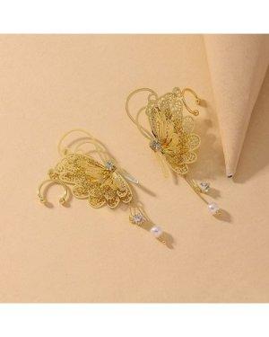 Rhinestone Butterfly Drop Earrings