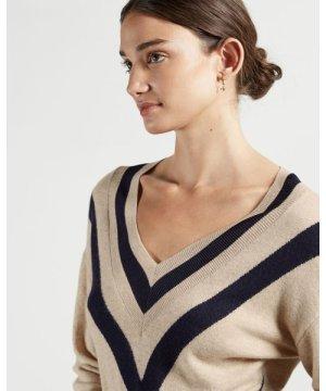 Chevron Detail Knitted Midi Dress