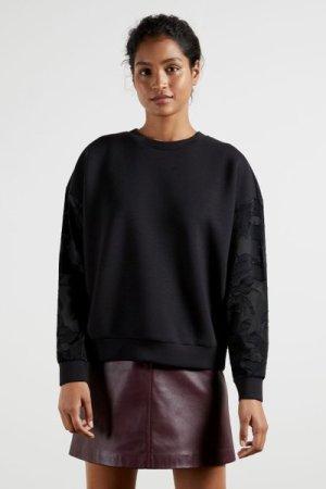 Sweatshirt With Floral Sleeves