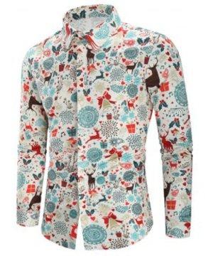 Christmas Print Casual Shirt
