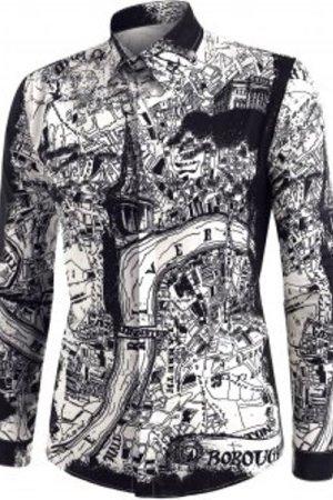 City Map Print Button Up Long Sleeve Shirt