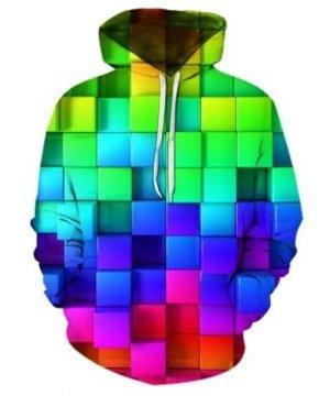 Colorful Block 3D Print Kangaroo Pocket Hoodie