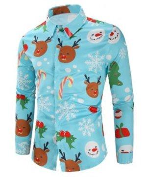 Christmas Candy Snowflakes Elk Print Casual Shirt