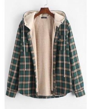 Plaid Chest Pocket Fleece Hooded Jacket