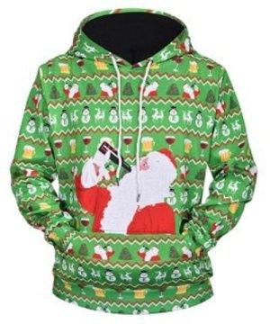 Drinking Santa Claus Print Drawstring Hoodie