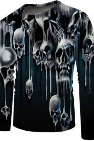 Liquid Skull Print Crew Neck Casual T Shirt