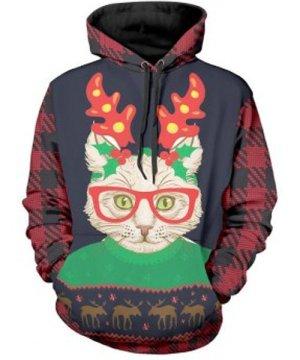 Christmas Cat Print Long Sleeve Hoodie