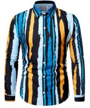 Striped Paint Print Button Up Shirt
