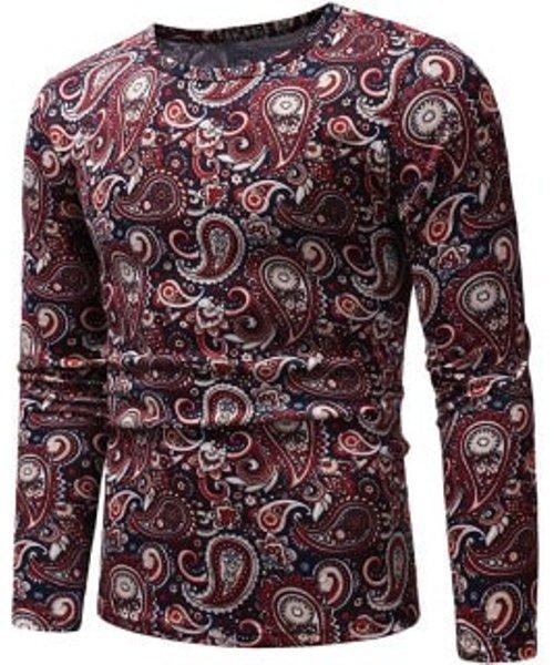 Ethnic Paisley Pattern Long-sleeved T-shirt