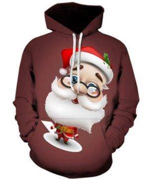 3D Cartoon Santa Claus Printed Pullover Hoodie