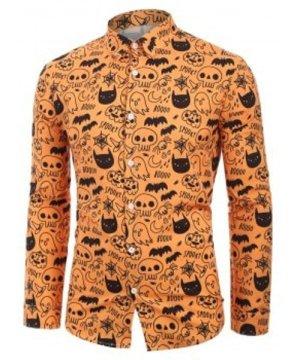 Skull Pumpkin Spider Cat Print Halloween Shirt