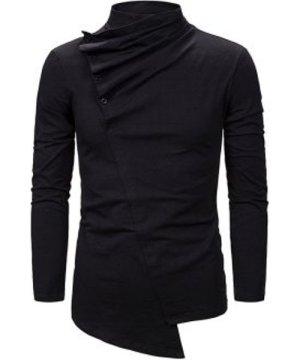 Pleated Button High Neck Asymmetrical Gothic T Shirt