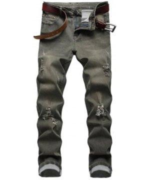 Destroy Wash Distressed Long Jeans