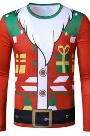 Christmas Santa Suit Gift Print Long Sleeve Slim T Shirt