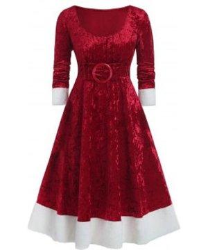 Plus Size Christmas Bowknot Embellished Contrast Velvet Midi Dress