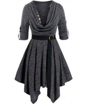 Plus Size Space Dye Cowl Neck Handkerchief Roll Up Sleeve Dress