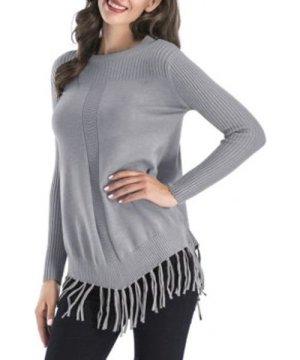 Ribbed Fringed Tunic Sweater