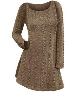 Cable Knit Long Sleeve Mini Jumper Dress