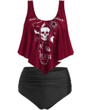 Skull Graphic Ruched High Waist Tankini Swimwear