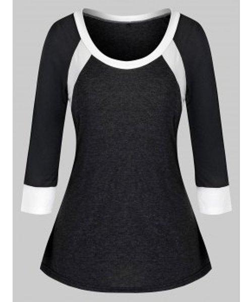 Plus Size Colorblock Splicing T Shirt