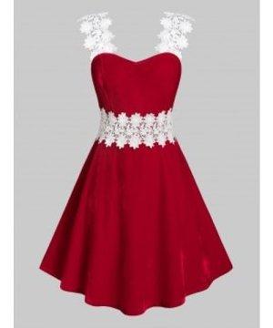 Plus Size Velvet Applique Flower A Line Dress