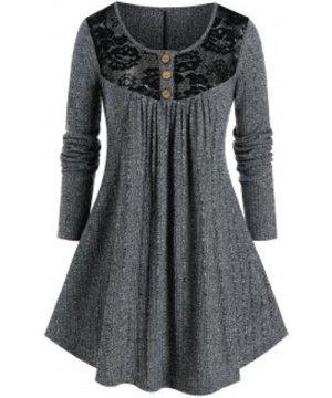 Plus Size Lace Panel Yoke Marled Tunic Sweater