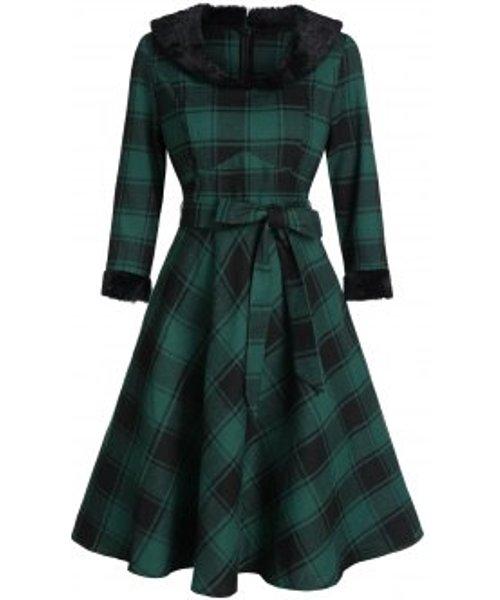 Plaid Print Faux Fur Collar Belted Skater Dress