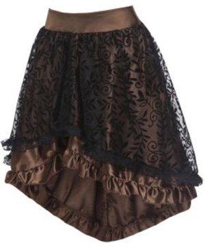 Flocking Leaf Lace Insert Ruffle High Low Skirt