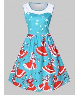 Plus Size Vintage Lace Panel Christmas Printed Dress