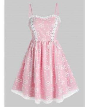 Plus Size Snowflake Pattern Mesh Slip Dress