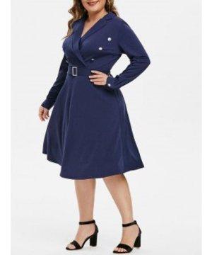 Plus Size Lapel Buttons A Line Dress