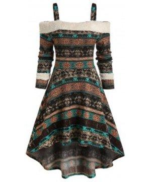 Tribal Print Cold Shoulder High Low Dress