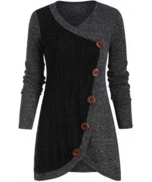 Contrast Tulip Hem V Neck Pullover Sweater