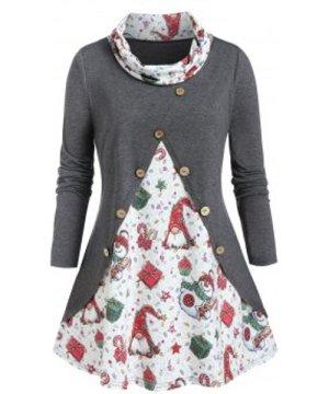 Plus Size Christmas Gift Cowl Neck Long Sleeve Tee