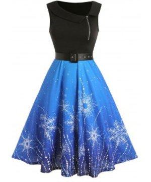Half Zip Christmas Printed Belted Dress