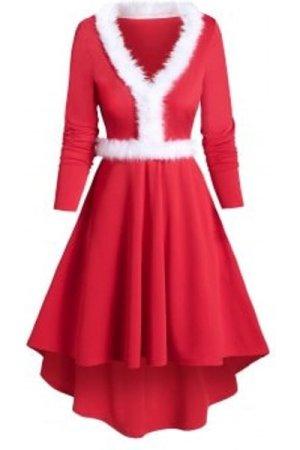 V Neck Fuzzy Trim Dip Hem Dress