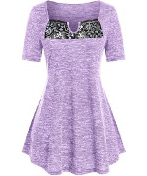 Plus Size Flower Lace Mesh Splicing T Shirt