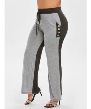Plus Size Drawstring Two Tone Pants