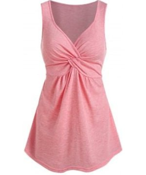Front Twist Plunging Neck Tank Top
