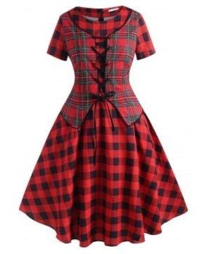 Plaid Lace Up Vest Plus Size Vintage Dress
