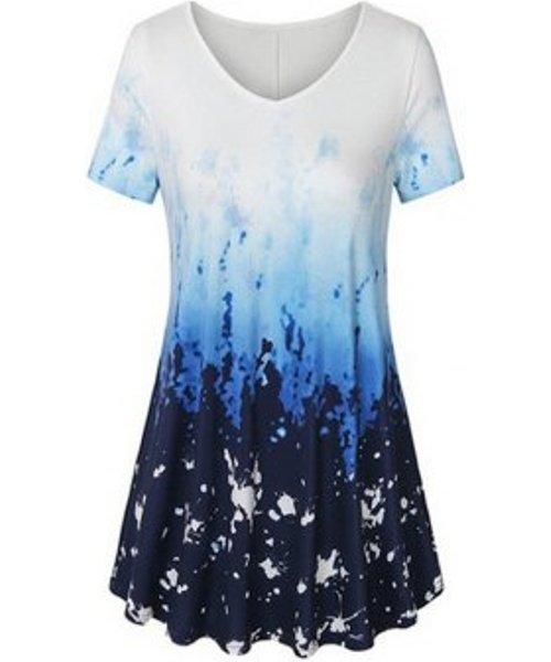 Plus Size V Neck Tie Dye T Shirt