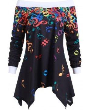 Off Shoulder Musical Note Asymmetric Sweatshirt