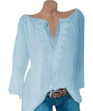Plus Size Lace Crochet Bell Sleeve Blouse
