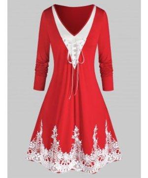 Plus Size Lace Up Applique Colorblock Dress