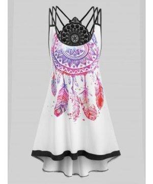 Plus Size Dreamcatcher Print Strappy High Low Dress