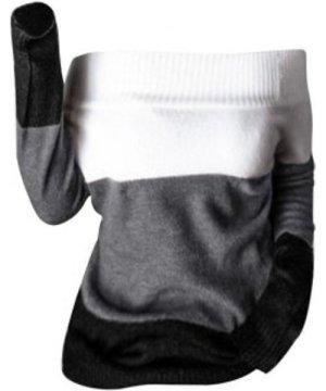 Off Shoulder Colorblock Jumper Sweater