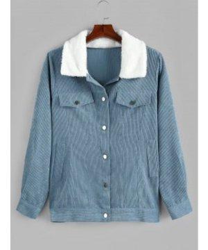 Plus Size Faux Fur Collar Corduroy Pocket Coat