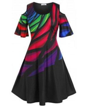 Plus Size Colorful Open Shoulder Casual Dress